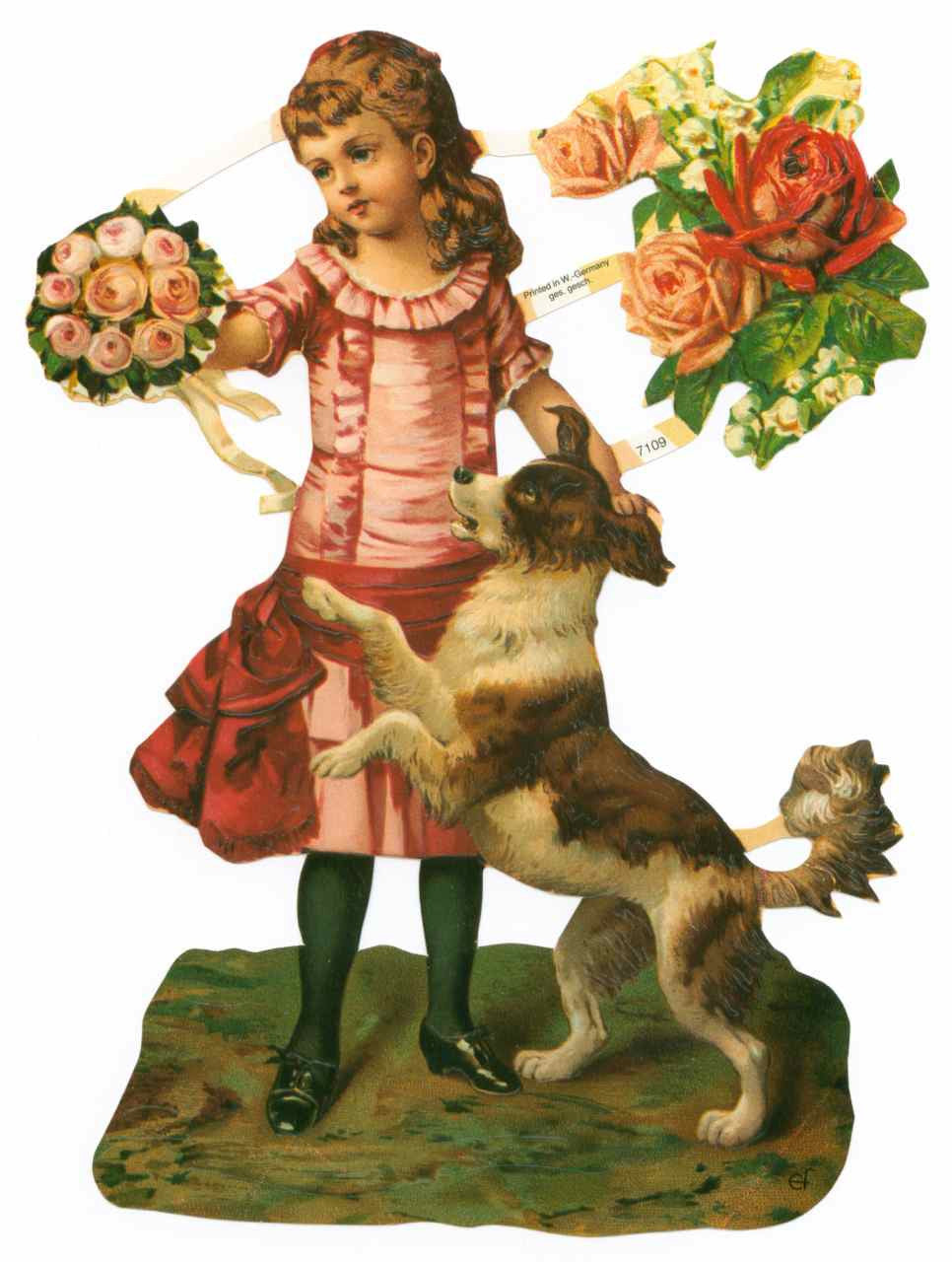 Young Girl with Roses and Dog