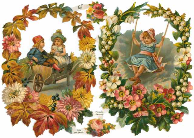 Scrapbook Pictures, Flowers and Children Playing