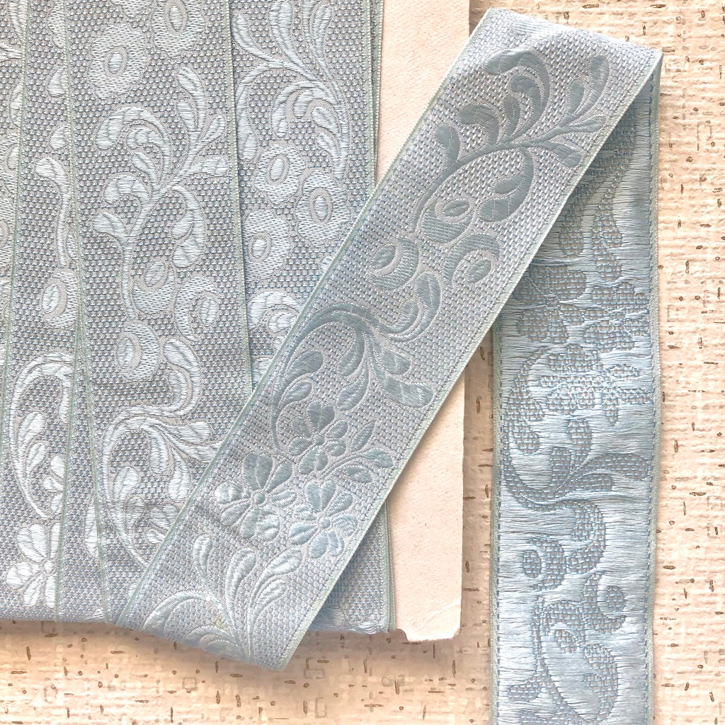 Light Blue Floral Vines Jacquard Ribbon
