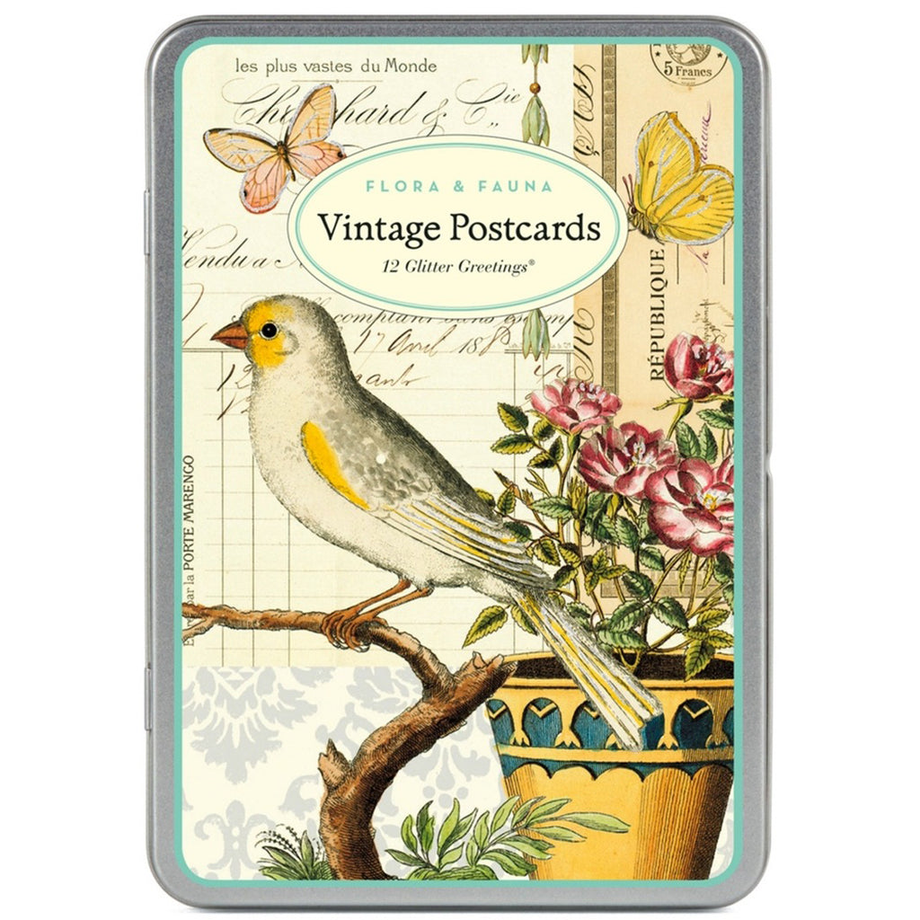 Flora & Fauna Vintage Postcards Set