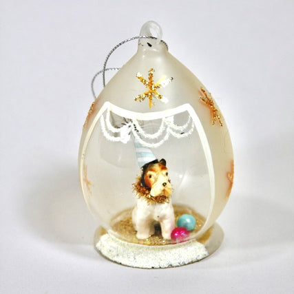 Sweet Party Dog Frosted Globe Ornament