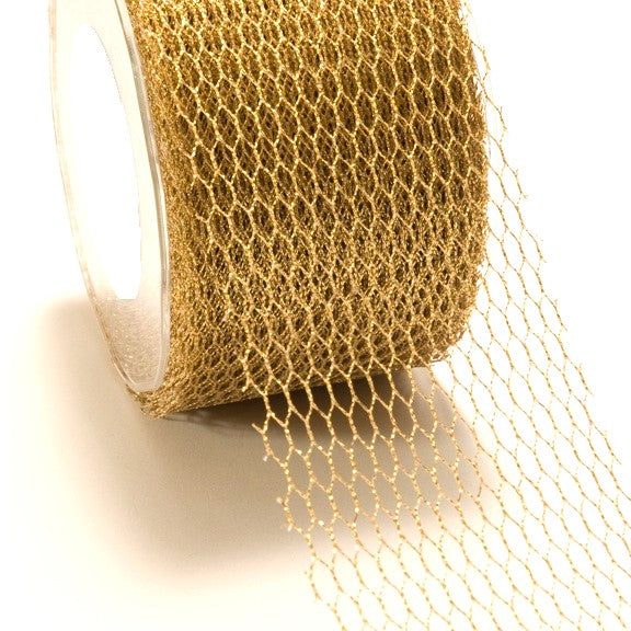 Metallic Gold Mesh Net Ribbon