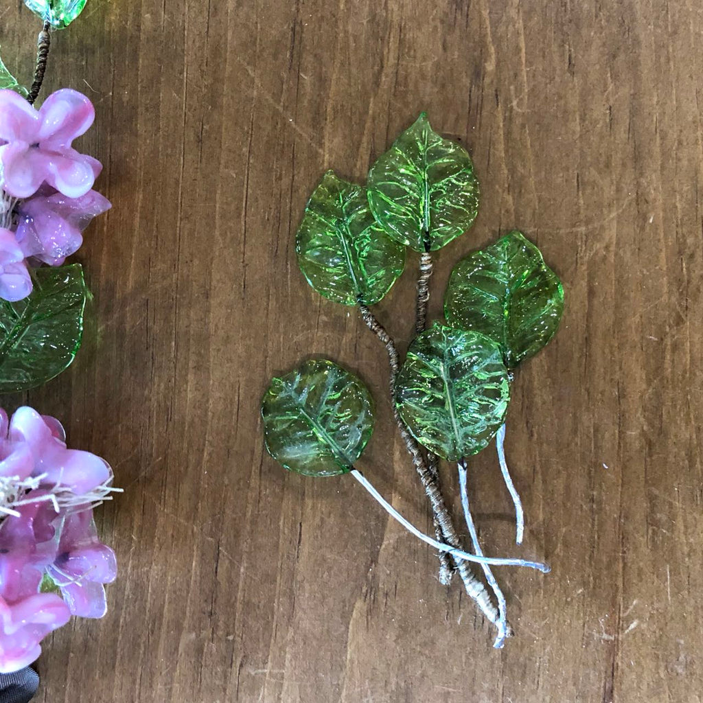 Vintage Glass Flowers & Leaves on Wire