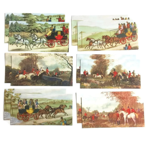 Vintage Hunting Scenes Miniature Reproduction Prints