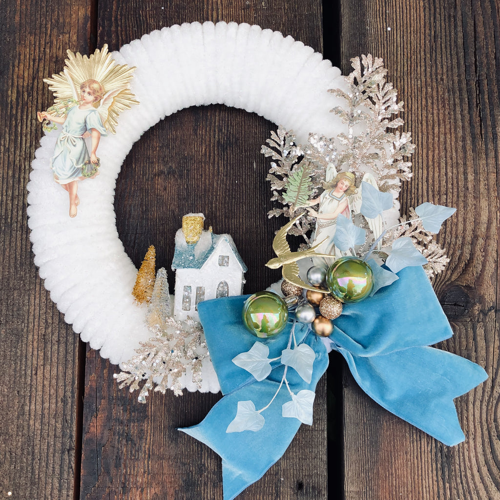 Hand Made Vintage Chenille Wreath