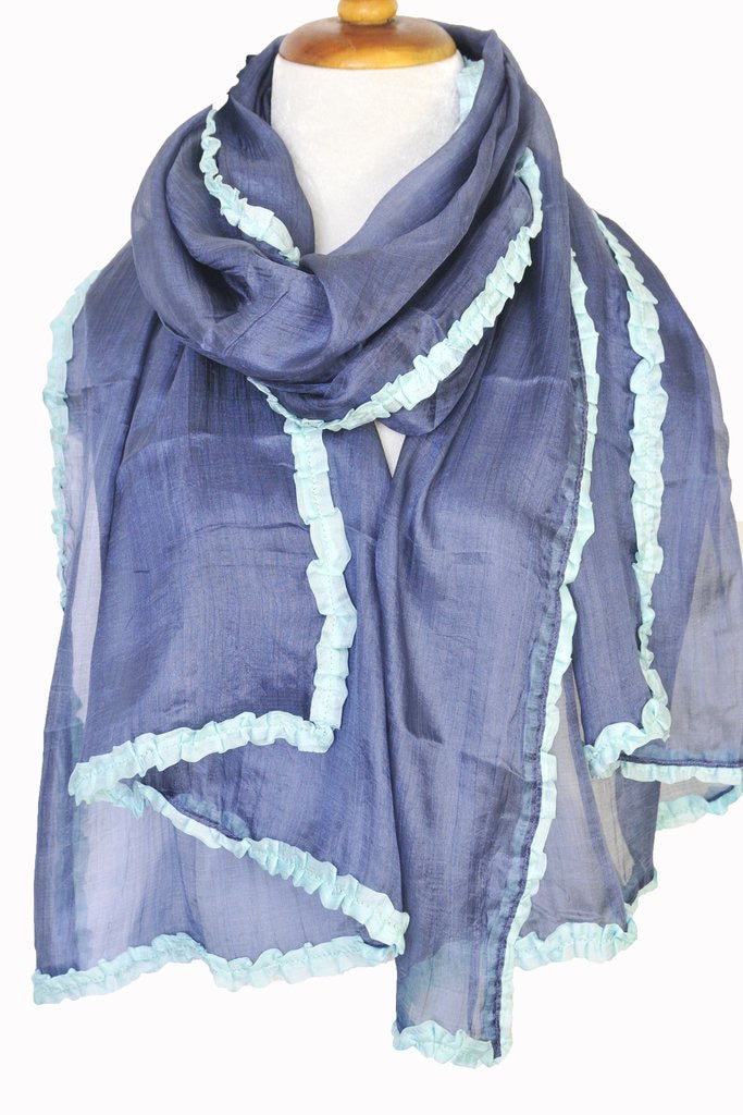 Silk Scarf with Ruffle Border