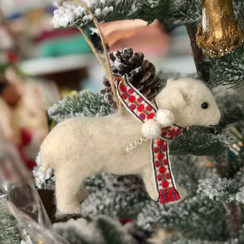 Young Polar Bear Wool Felted Ornament