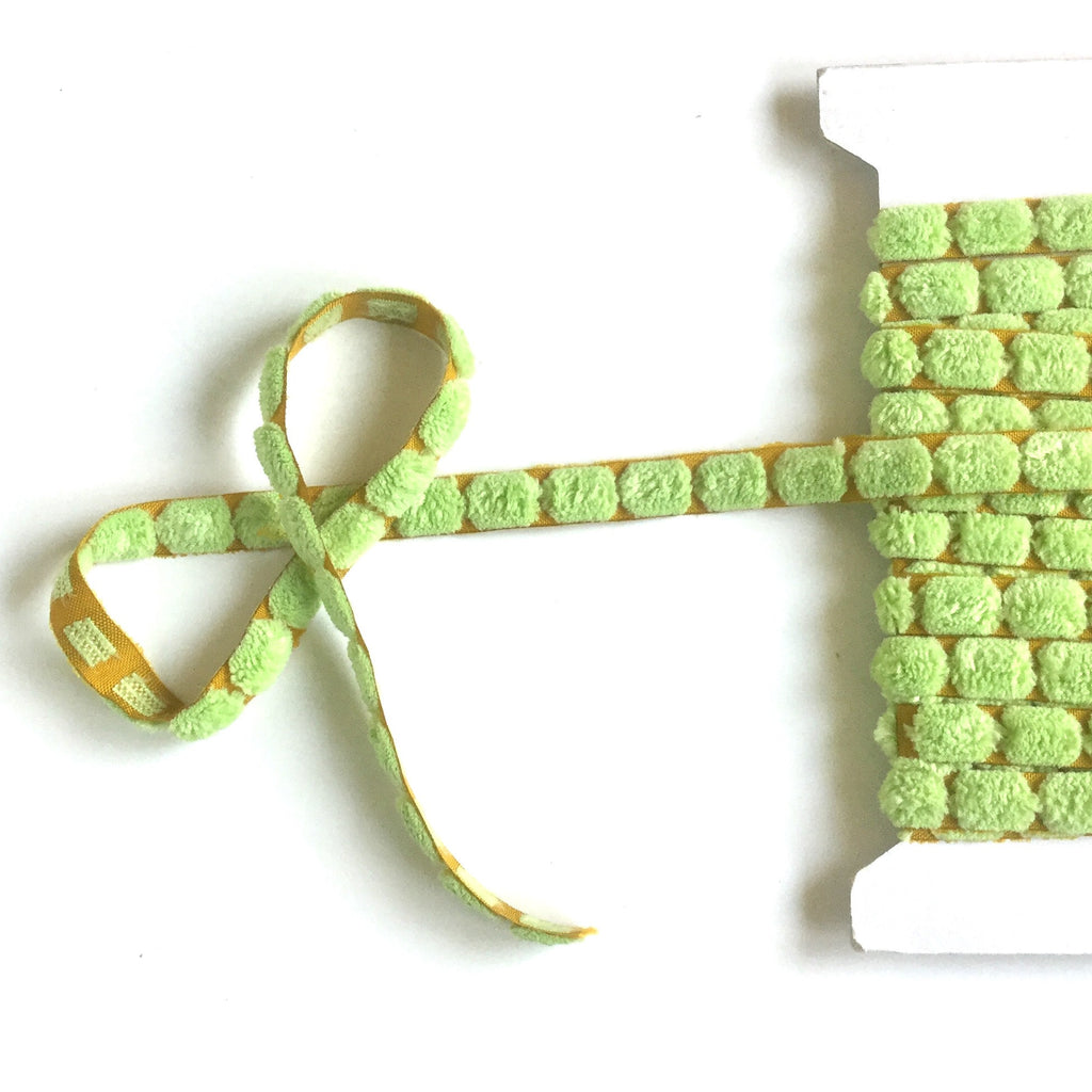 Green_Chenille_Center_Dot_Ribbon_3/8""