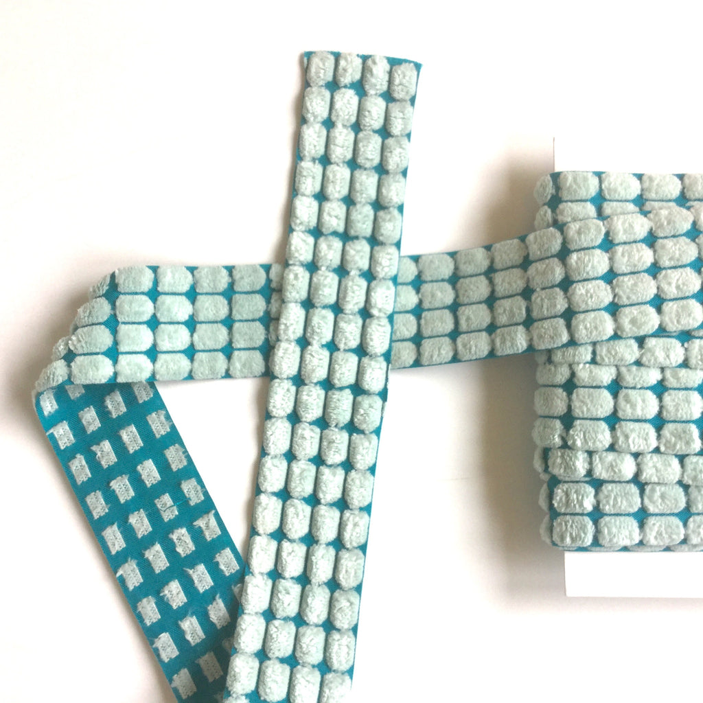 Turquoise_Aqua_velvet Chenille_Center_Dot_Ribbon_3/8""