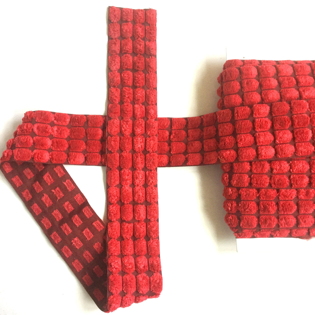 red velvet_Chenille_Center_Dot_Ribbon_3/8""