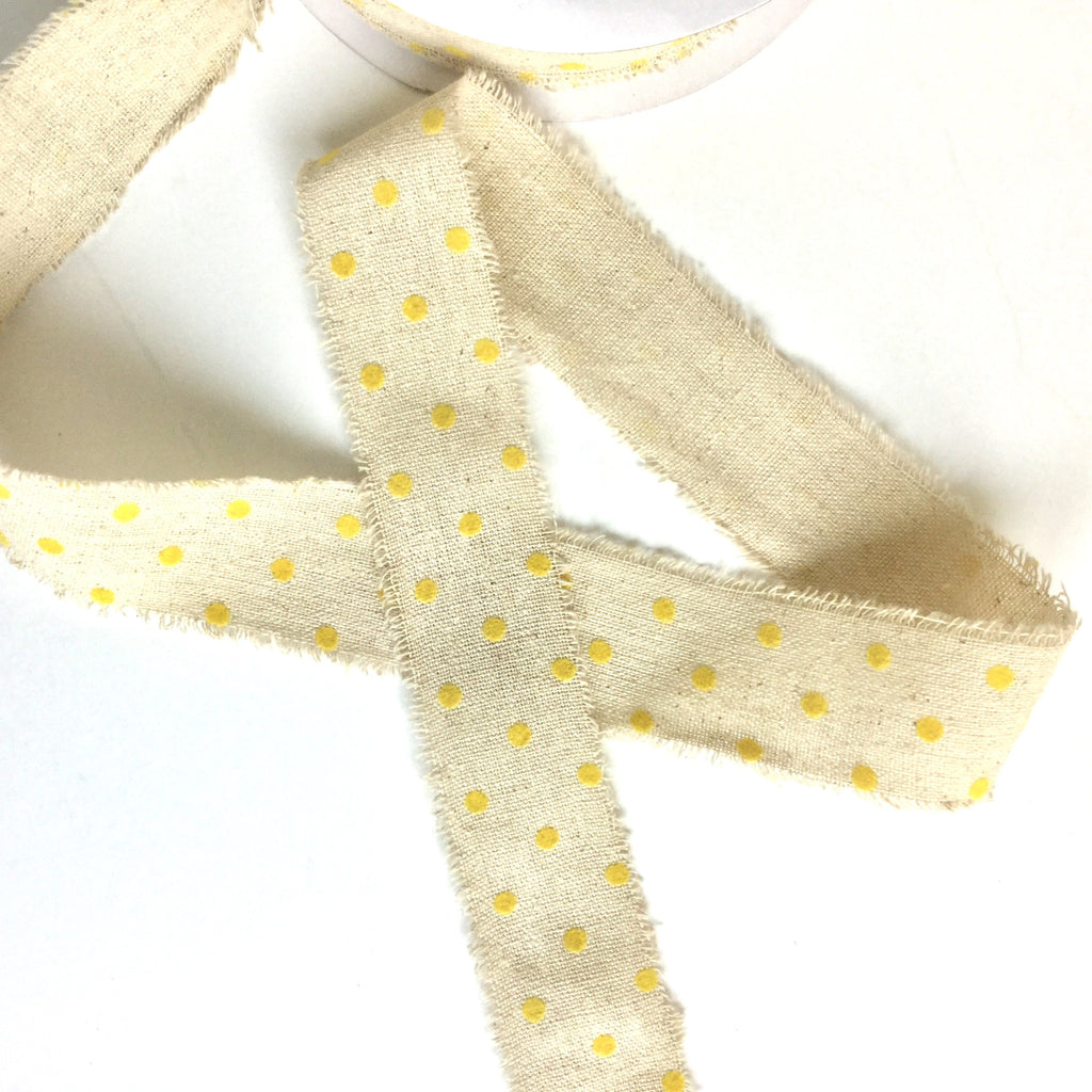 Velvet Dots on Linen Ribbon