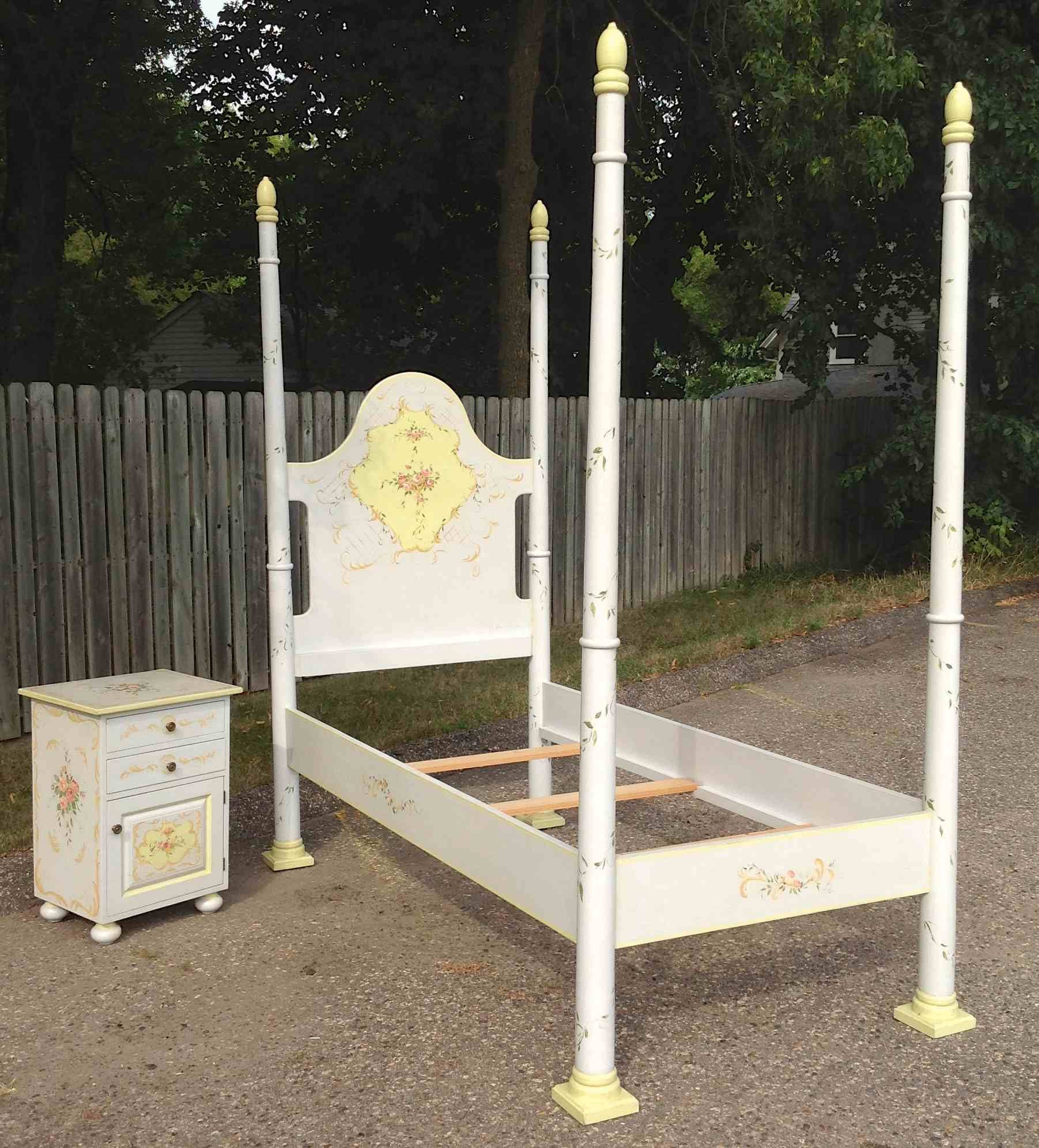 Hand Painted Jane Keltner Four Poster Twin Bed