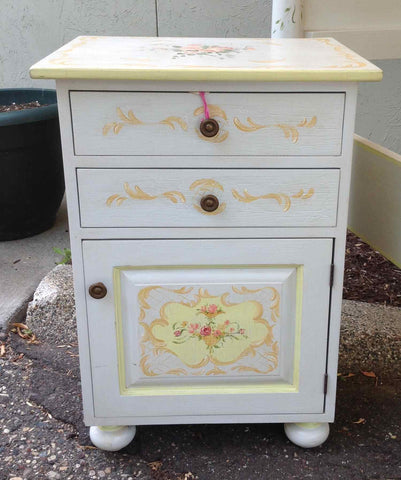 Bedside Cabinet, Hand Painted by Jane Keltner