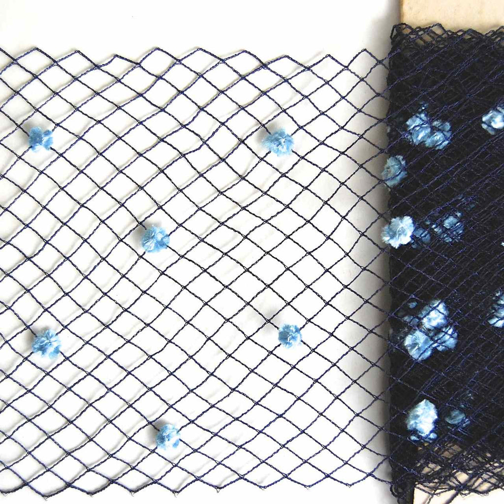 Light Blue Chenille on Navy Vintage Silk Netting