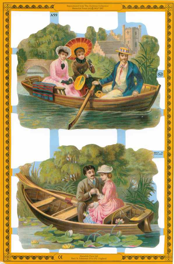 Scrapbook Pictures, Couples in Rowboats