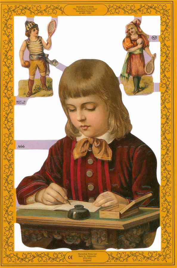Scrapbook Pictures, Girl at Writing Desk