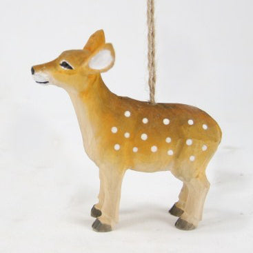 Carved Wooden Fawn Ornament