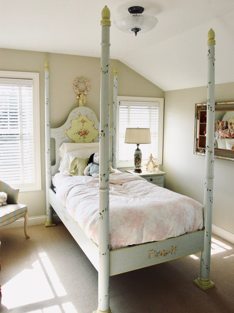 Hand Painted Fairy Tale Jane Keltner Four Poster Twin Bed Rose Mille