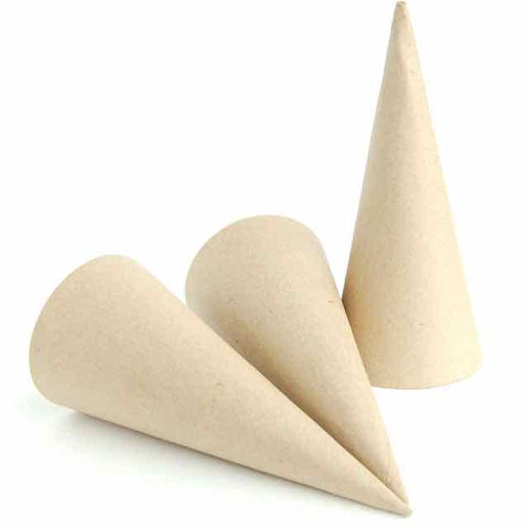 Set of 3 Kraft Paper Maché Cones - 7 x 3