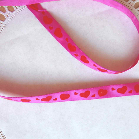 Red Hearts, Pink Satin Ribbon