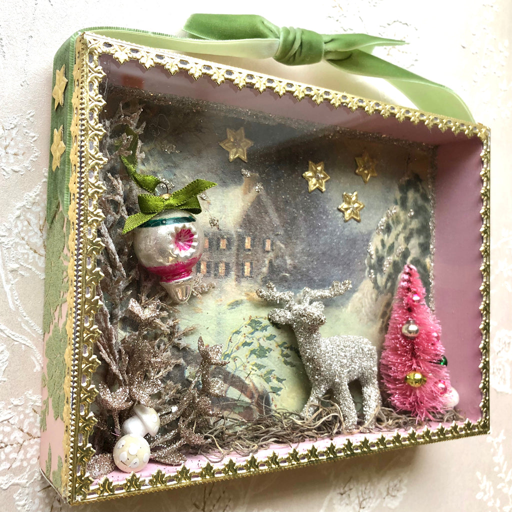 Pink Christmas Winter Diorama Shadowbox