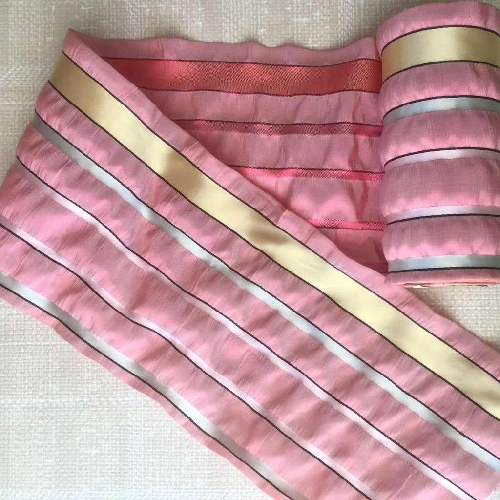 Wide Vintage Pink Multi Seersucker Ribbon