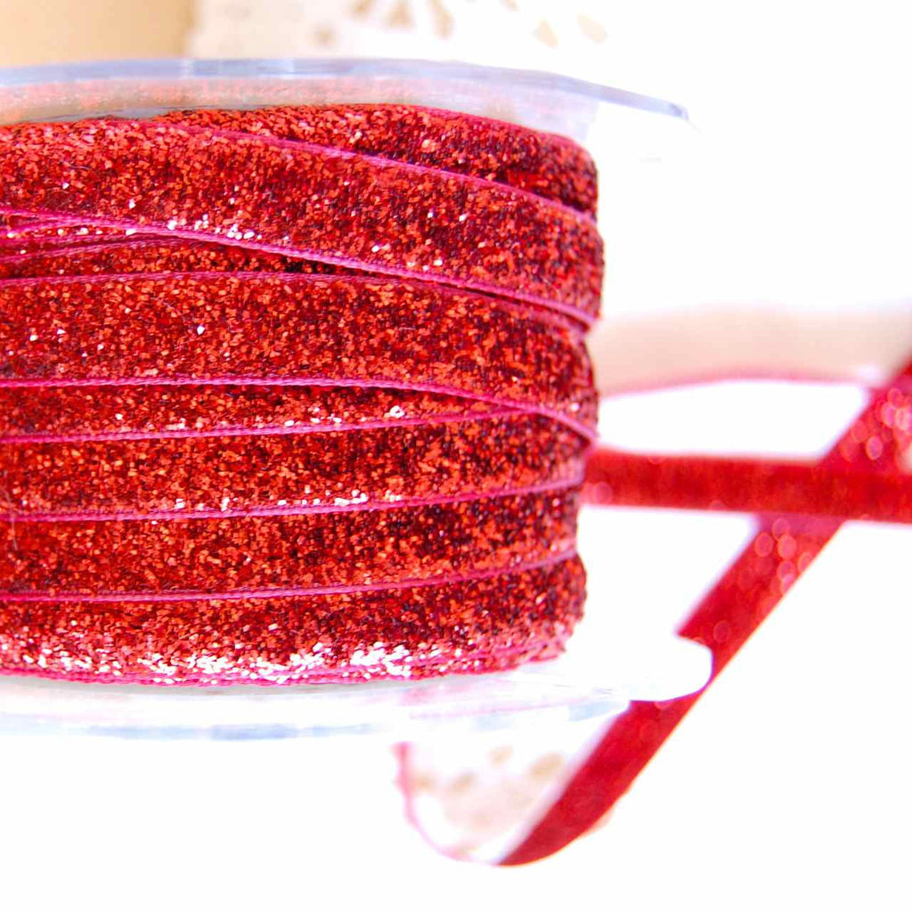 Red metallic velvet ribbon 38""