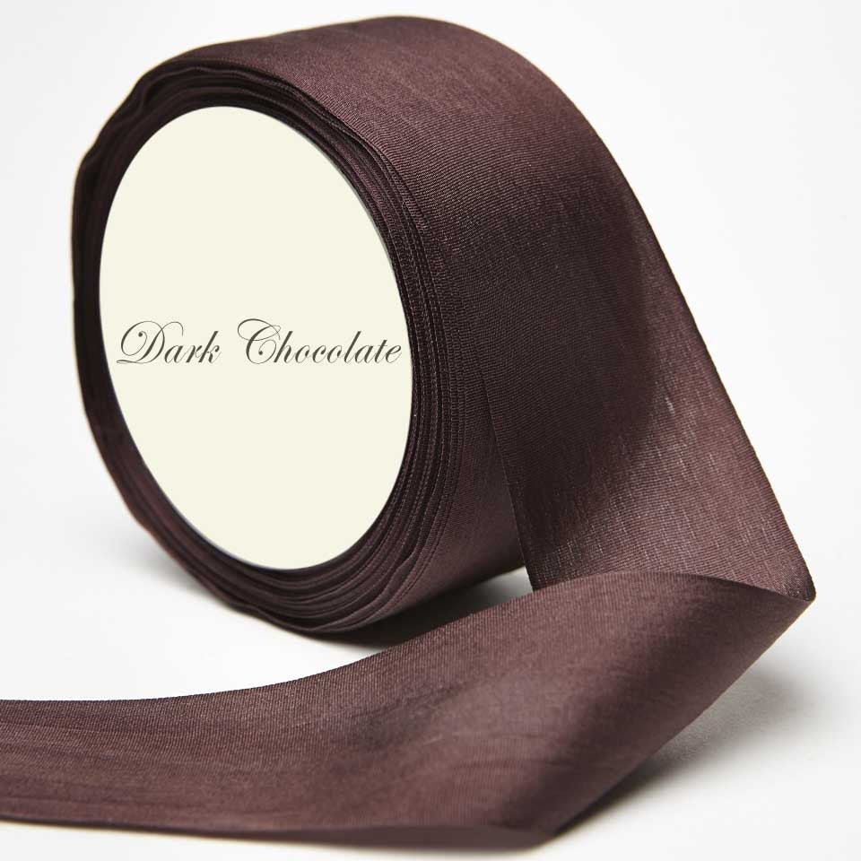 Silk Ribbon, brown, dark brown, chocolate