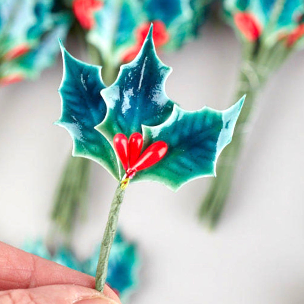 Lacquered Holly Leaves - Vintage