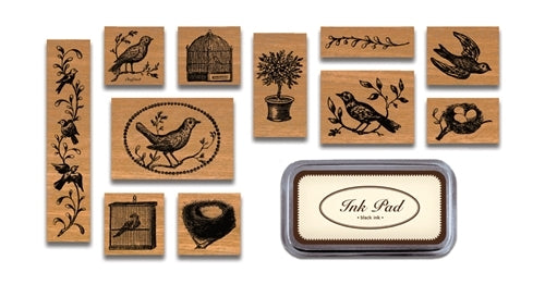 Birds & Nests Rubber Stamp Set