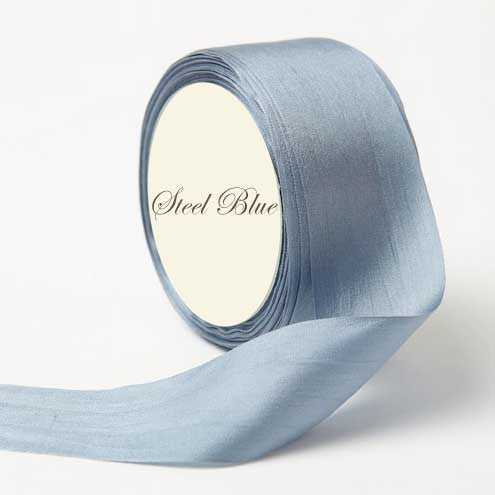 Silk Ribbon, blue, steel blue light blue