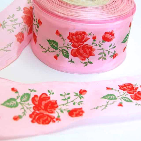 Pink-Taffeta-French-Ribbon-Vintage