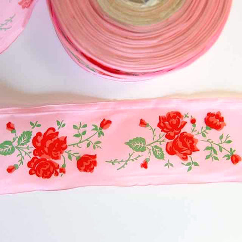 Pink Taffeta With Red Roses Ribbon - Vintage