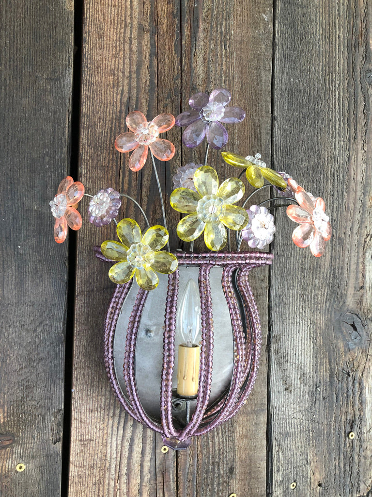 Crystal Basket of Flowers Sconce