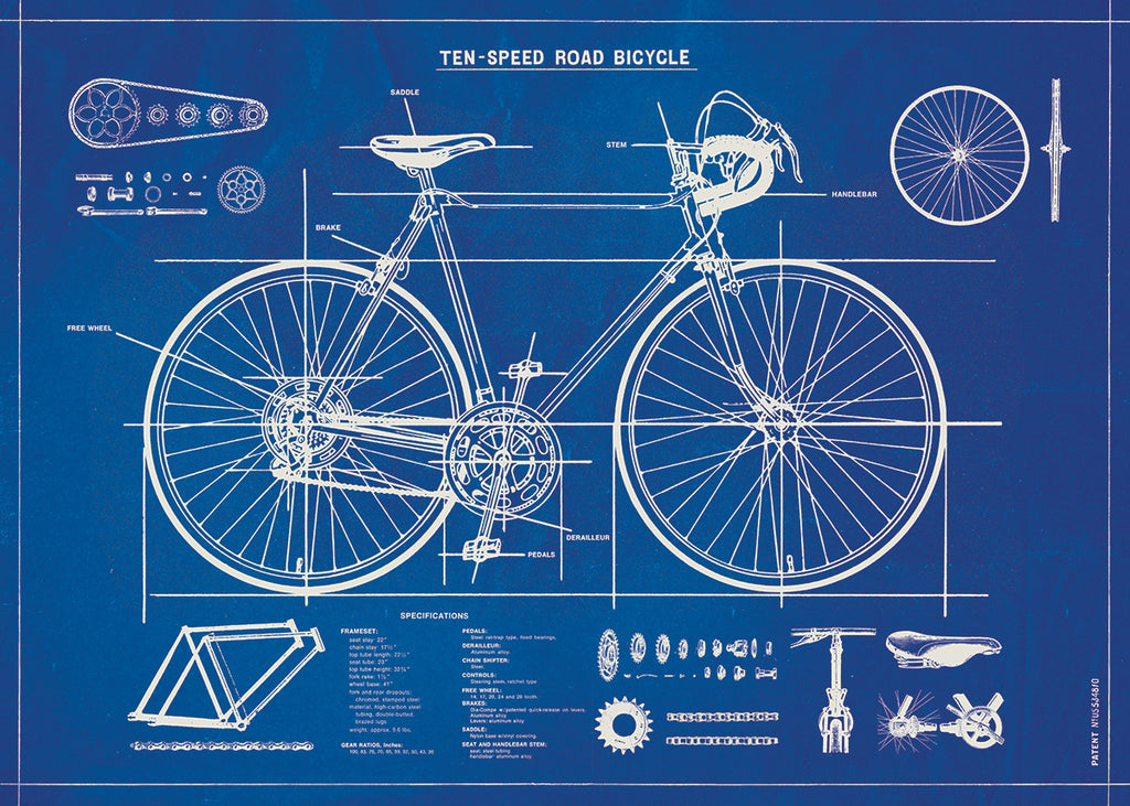 Bicycle Blueprint -  Cavallini Wrap & Poster