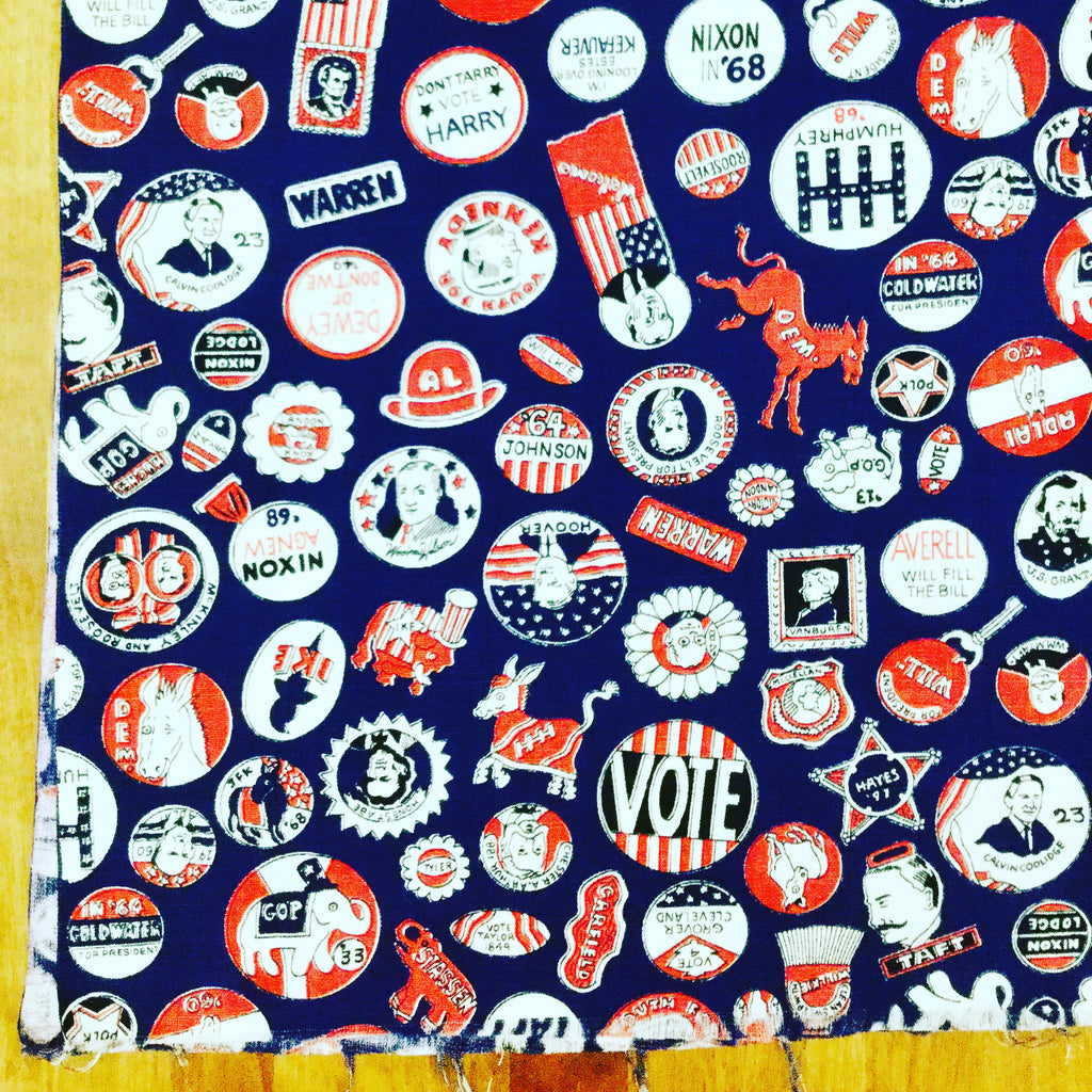 "Vintage Cotton ""Vote"" Fabric"