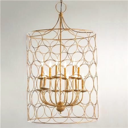 Caged Circles in Gold Modern Retro Rustic Chandelier