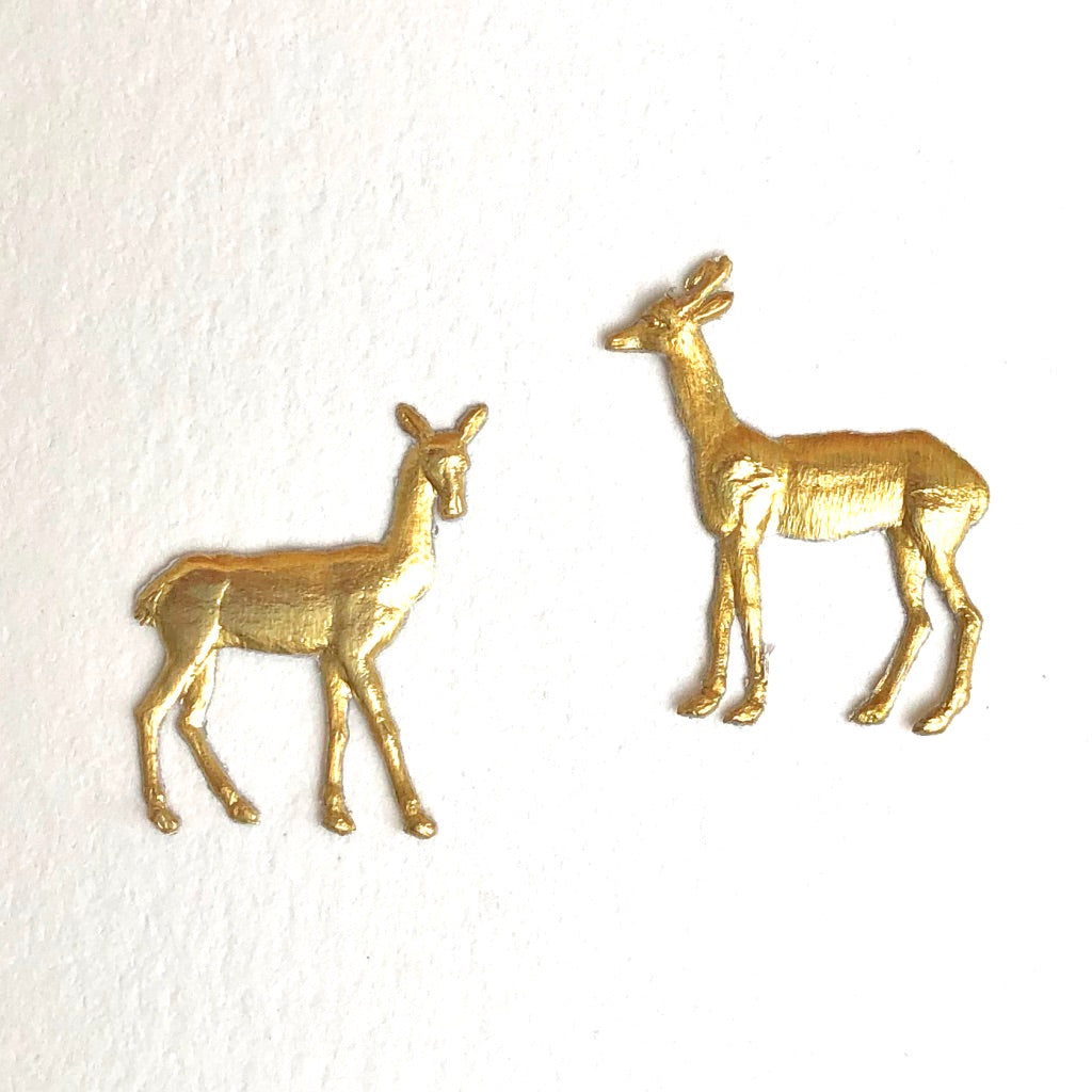 Tiny Pair Deer Dresden Die-Cuts