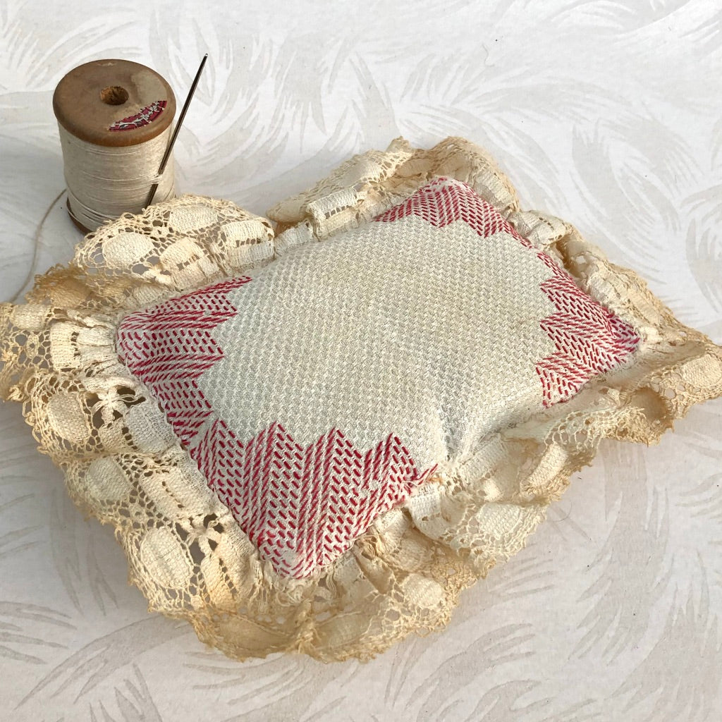 Embroidered Antique Pincushion Pillow