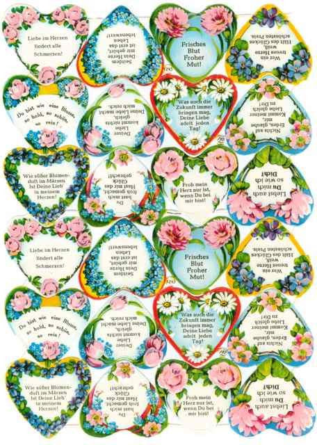Scrapbook Pictures, Floral Hearts with German Sayings