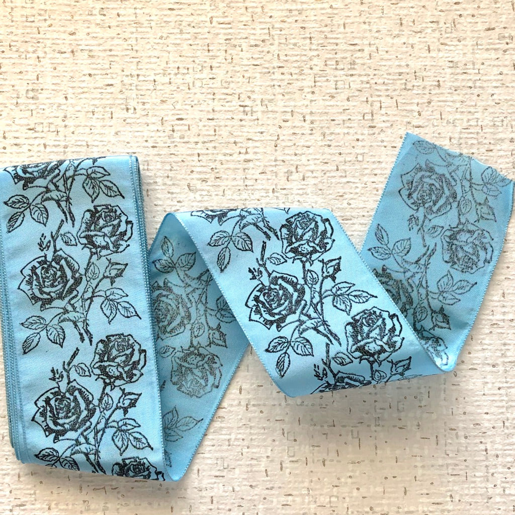 Wide Silk Printed Vintage Ribbon