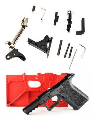 Package Deal Polymer80 PF940C Textured and Lone Wolf PF940C  Lower Completion Kit 9mm