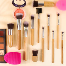 Load image into Gallery viewer, Bamboo Handle Brush Set with Makeup Brush Drying Rack - BEAKEY