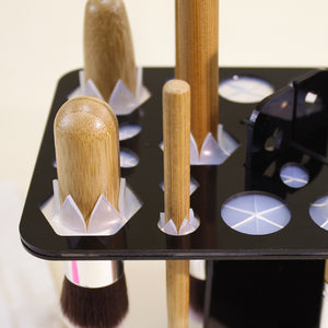 Bamboo Handle Brush Set with Makeup Brush Drying Rack - BEAKEY
