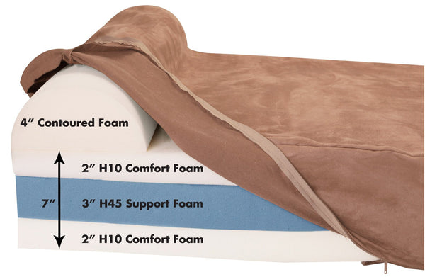 (Clearance) Large Khaki Bed - Headrest Edition