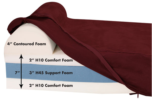 (Clearance) XL Burgundy Bed - Headrest Edition