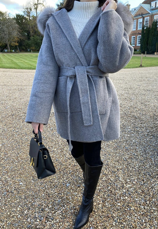 THE BELGRAVIA CASHMERE BLEND COAT GREY MELANGE