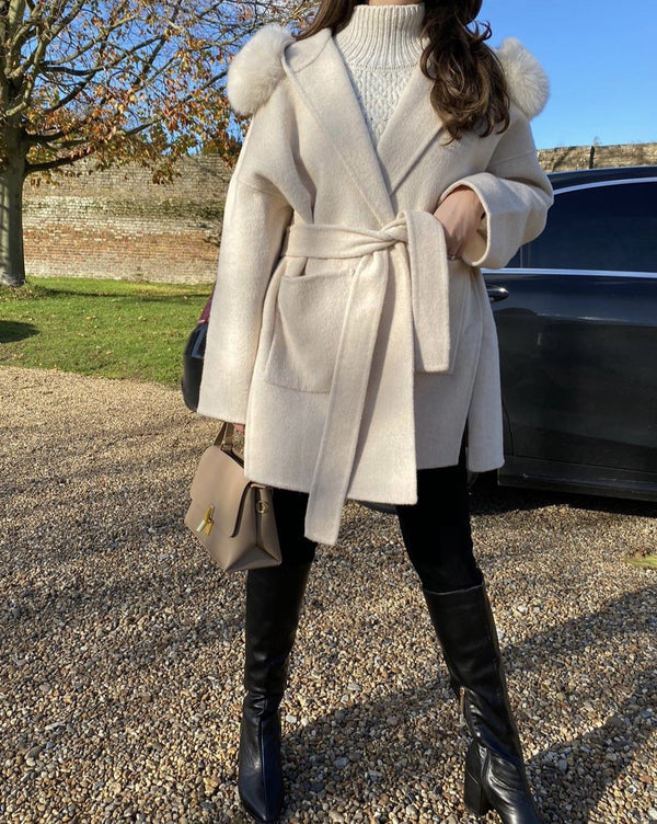 THE BELGRAVIA CASHMERE BLEND COAT CREMA