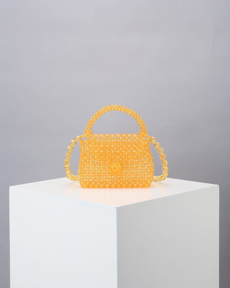 CHER BEADED FLAP BAG IN APRICOT