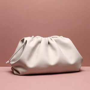 LYDIA LARGE CREAM POUCH BAG - PREMIUM LEATHER COLLECTION